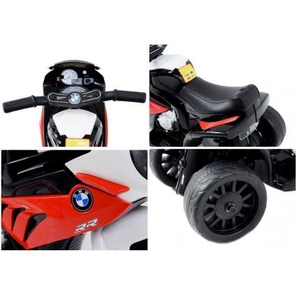 Электромотоцикл BMW S1000RR Red (трицикл, 6V) - JT5188 (кожаное кресло, музыка, свет фар)